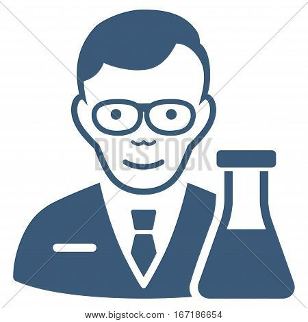 Chemist vector icon. Flat blue symbol. Pictogram is isolated on a white background. Designed for web and software interfaces.