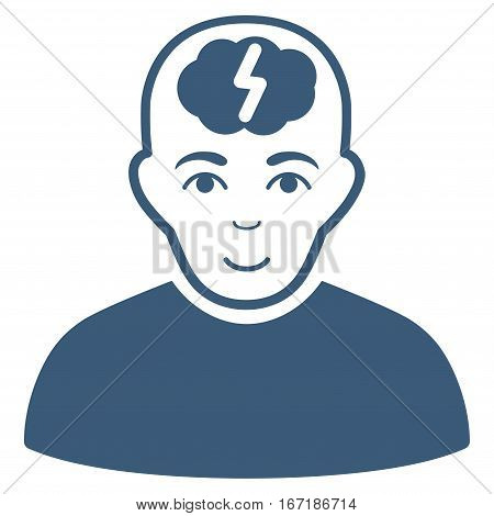 Clever Boy vector icon. Flat blue symbol. Pictogram is isolated on a white background. Designed for web and software interfaces.