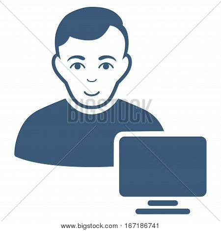 Computer Administrator vector icon. Flat blue symbol. Pictogram is isolated on a white background. Designed for web and software interfaces.