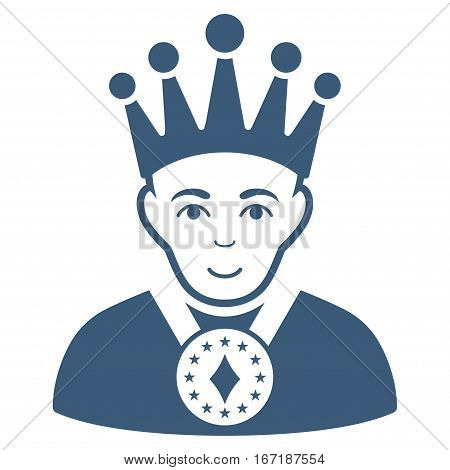 King vector icon. Flat blue symbol. Pictogram is isolated on a white background. Designed for web and software interfaces.
