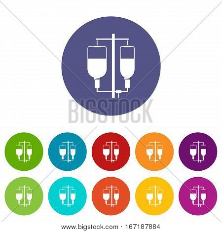 Intravenous infusion set icons in different colors isolated on white background