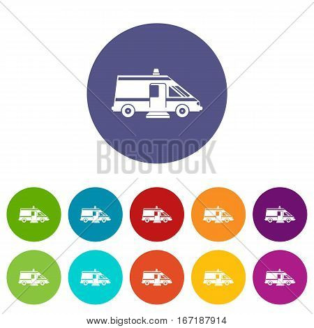 Ambulance set icons in different colors isolated on white background
