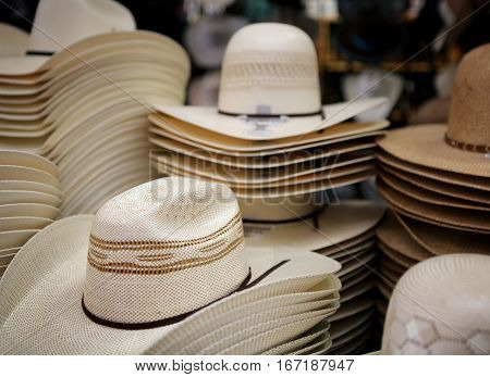 Austin Rodeo, Texas, March 26, 2016.  Cowboy hats for sale