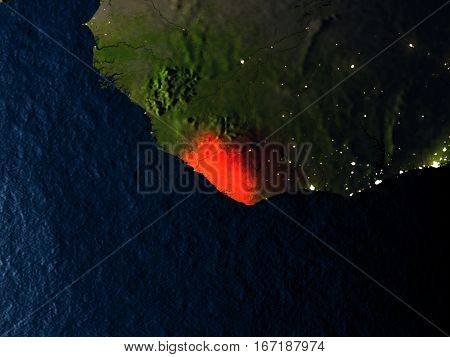 Liberia In Red From Space At Night
