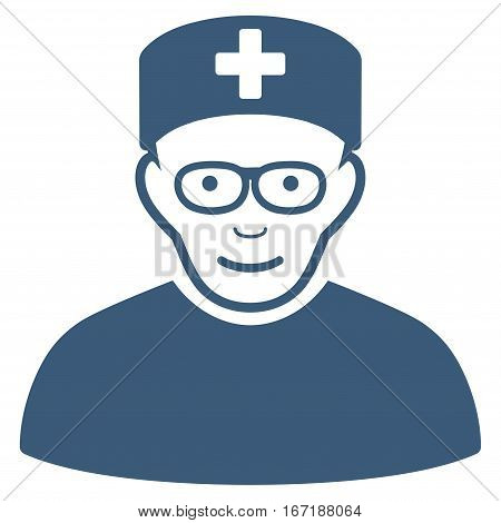 Medical Specialist vector icon. Flat blue symbol. Pictogram is isolated on a white background. Designed for web and software interfaces.