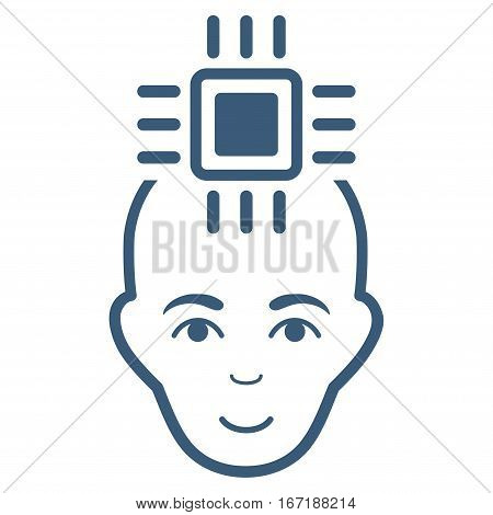 Neural Computer Interface vector icon. Flat blue symbol. Pictogram is isolated on a white background. Designed for web and software interfaces.