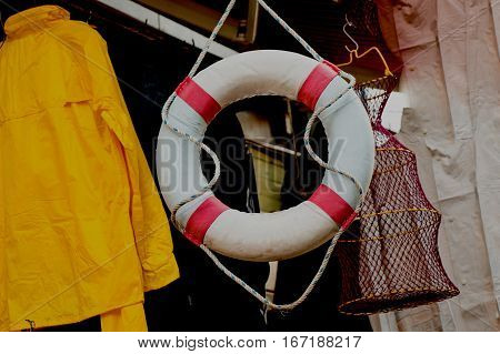 Lifesaver Or Life Preserver With Rope Around