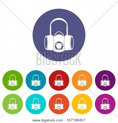 Respirator set icons in different colors isolated on white background