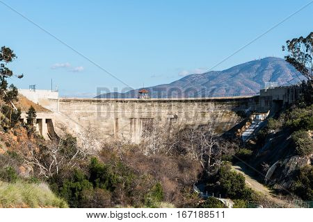 Sweetwater dam and spillway station with San Miguel mountain in San Diego, California.
