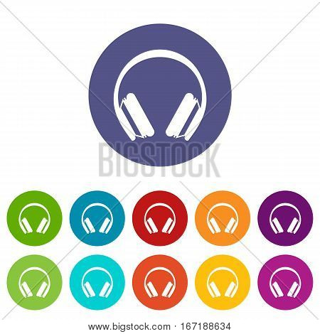 Protective headphones set icons in different colors isolated on white background