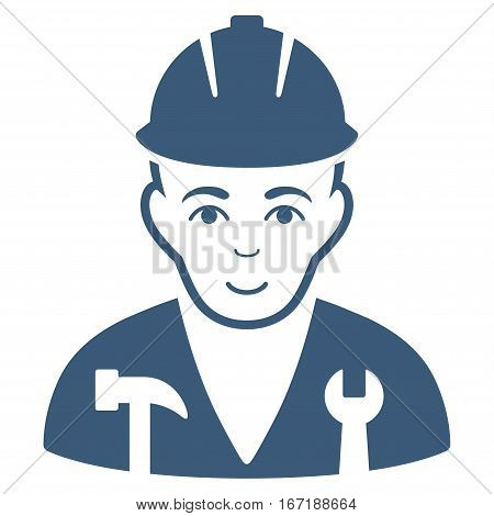 Serviceman vector icon. Flat blue symbol. Pictogram is isolated on a white background. Designed for web and software interfaces.