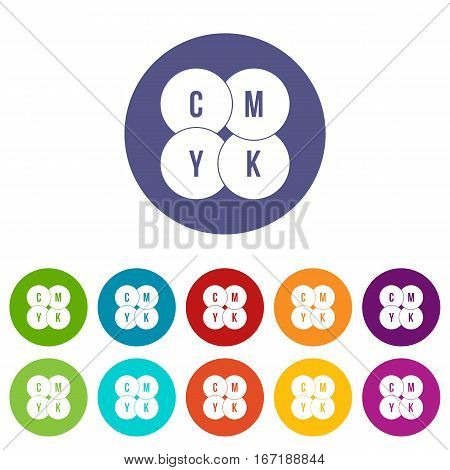 CMYK circles set icons in different colors isolated on white background