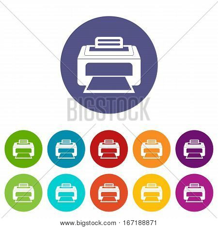 Modern laser printer set icons in different colors isolated on white background