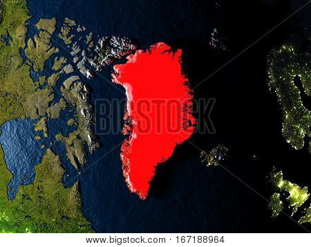 Greenland In Red From Space At Night