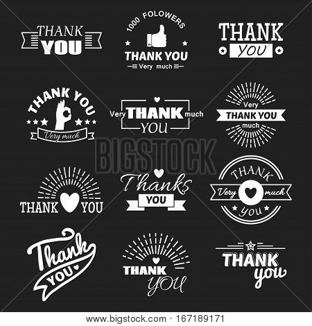 Thank you text lettering vector logo badge isolated. Vintage inscription headline typography decorative design font. Greeting label calligraphy script word.
