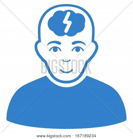Clever Boy vector icon. Flat cobalt symbol. Pictogram is isolated on a white background. Designed for web and software interfaces.