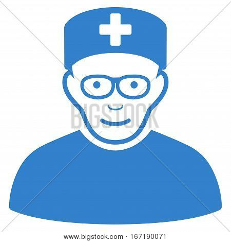Medical Specialist vector icon. Flat cobalt symbol. Pictogram is isolated on a white background. Designed for web and software interfaces.