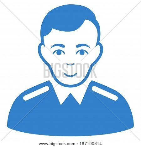 Officer vector icon. Flat cobalt symbol. Pictogram is isolated on a white background. Designed for web and software interfaces.