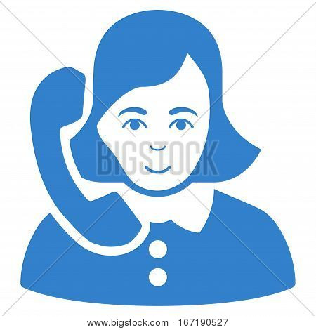 Receptionist vector icon. Flat cobalt symbol. Pictogram is isolated on a white background. Designed for web and software interfaces.