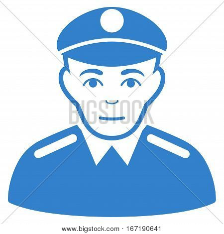 Soldier vector icon. Flat cobalt symbol. Pictogram is isolated on a white background. Designed for web and software interfaces.