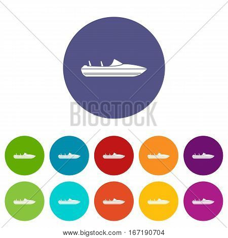 Little powerboat set icons in different colors isolated on white background