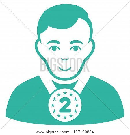 2nd Prizer Sportsman vector icon. Flat cyan symbol. Pictogram is isolated on a white background. Designed for web and software interfaces.