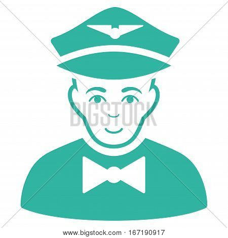 Airline Steward vector icon. Flat cyan symbol. Pictogram is isolated on a white background. Designed for web and software interfaces.
