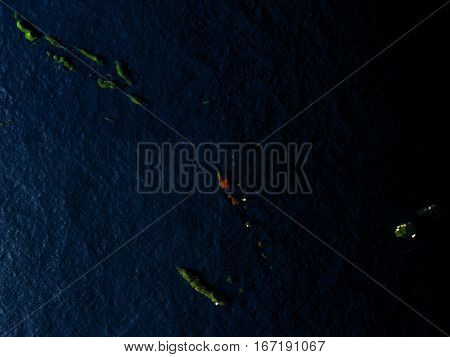 Vanuatu In Red From Space At Night