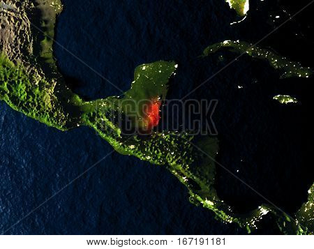 Belize In Red From Space At Night