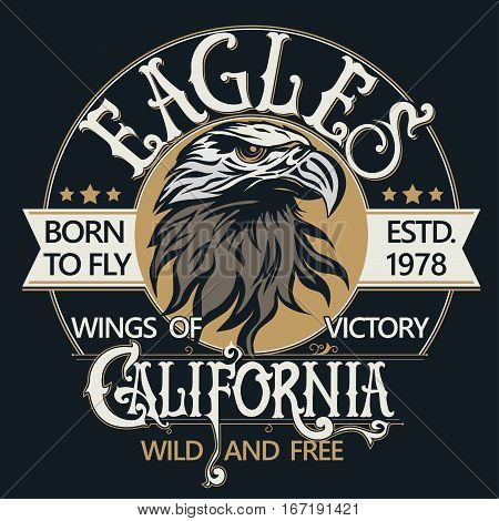 Eagle head logo for t-shirt, mascot Sport wear typography emblem graphic, athletic apparel stamp. Portrait of a bald eagle. Vector