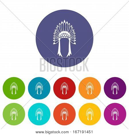 Indian headdress set icons in different colors isolated on white background
