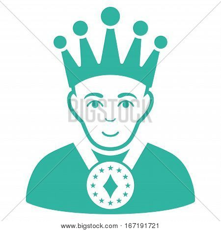King vector icon. Flat cyan symbol. Pictogram is isolated on a white background. Designed for web and software interfaces.