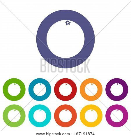 Mandarin set icons in different colors isolated on white background