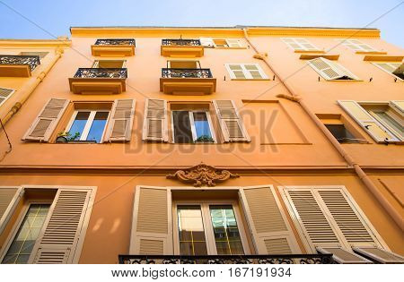 Monaco, Monte Carlo - September 16, 2016: Luxury apartments in Rock of Monaco.  Rue Comte Félix Gastaldi the street leads to the palace of Monaco.