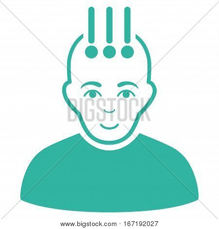 Neural Interface vector icon. Flat cyan symbol. Pictogram is isolated on a white background. Designed for web and software interfaces.
