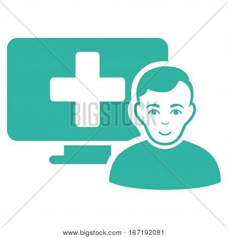 Online Medicine vector icon. Flat cyan symbol. Pictogram is isolated on a white background. Designed for web and software interfaces.