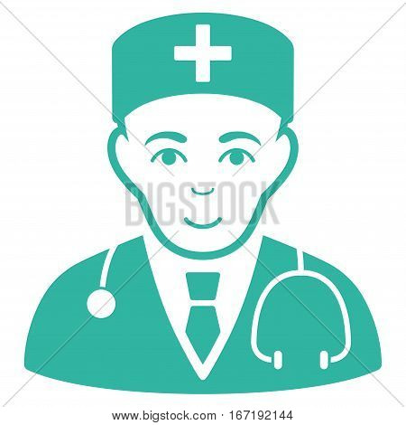 Physician vector icon. Flat cyan symbol. Pictogram is isolated on a white background. Designed for web and software interfaces.