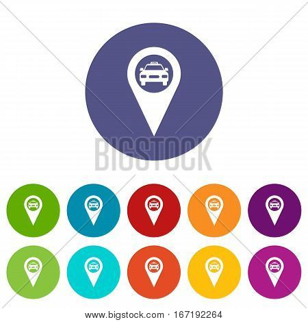 Geo taxi set icons in different colors isolated on white background