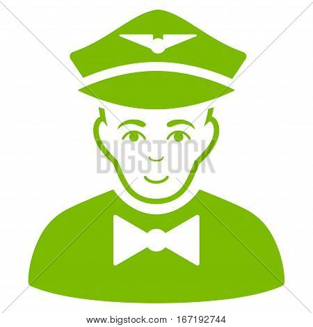 Airline Steward vector icon. Flat eco green symbol. Pictogram is isolated on a white background. Designed for web and software interfaces.