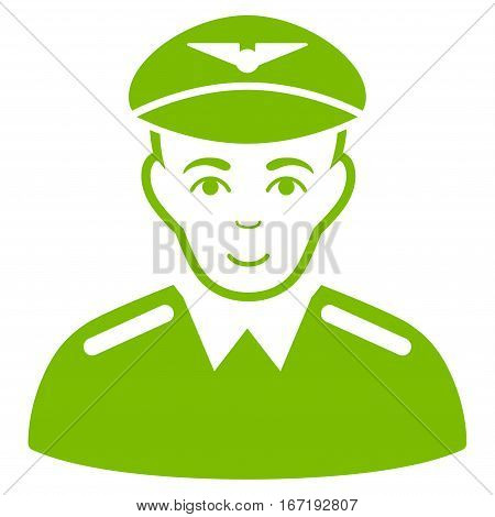 Aviator vector icon. Flat eco green symbol. Pictogram is isolated on a white background. Designed for web and software interfaces.