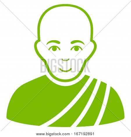 Buddhist Monk vector icon. Flat eco green symbol. Pictogram is isolated on a white background. Designed for web and software interfaces.