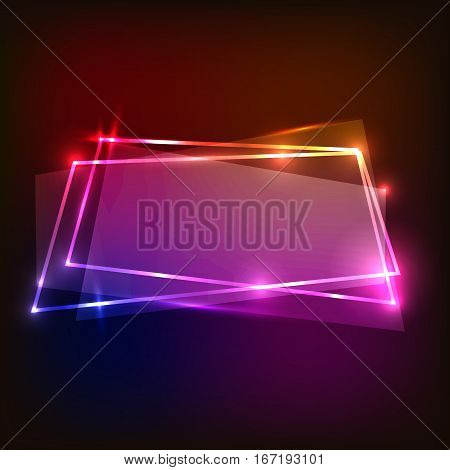 Abstract background with colorful neon banners, stock vector