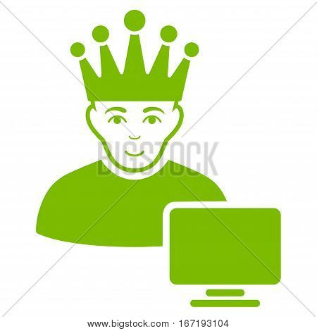 Computer Moderator vector icon. Flat eco green symbol. Pictogram is isolated on a white background. Designed for web and software interfaces.