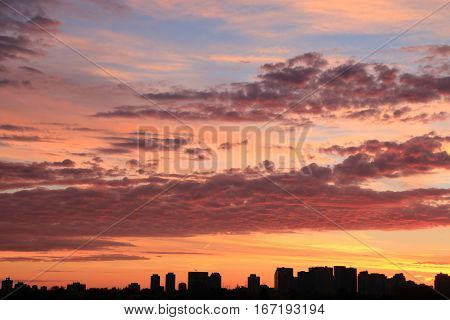Sky and clouds at sunset as a natural background