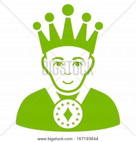 King vector icon. Flat eco green symbol. Pictogram is isolated on a white background. Designed for web and software interfaces.