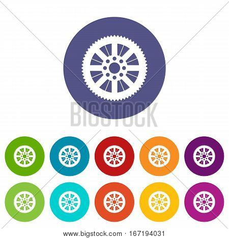Sprocket from bike set icons in different colors isolated on white background
