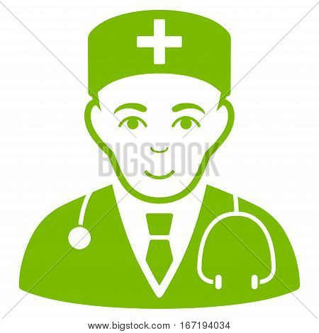 Physician vector icon. Flat eco green symbol. Pictogram is isolated on a white background. Designed for web and software interfaces.