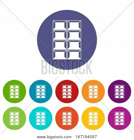 Dark chocolate set icons in different colors isolated on white background