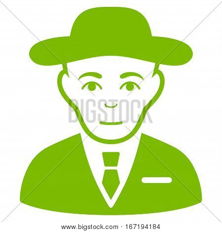Secret Service Agent vector icon. Flat eco green symbol. Pictogram is isolated on a white background. Designed for web and software interfaces.