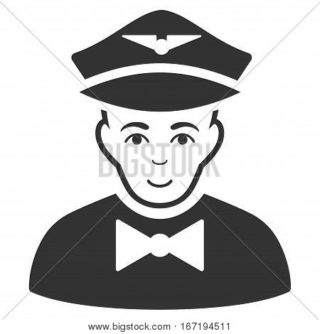 Airline Steward vector icon. Flat gray symbol. Pictogram is isolated on a white background. Designed for web and software interfaces.